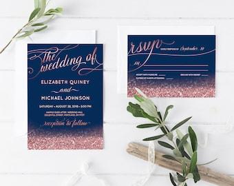 Navy Wedding Invitation Suite Navy Blue Wedding Invitation Set Navy Blush Rose Gold Glitter Wedding Invite RSVP Details Printable DIGITAL