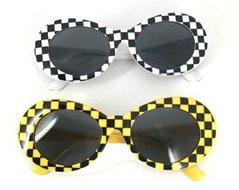 Checkered /Yellow  Oval Mod Stlye Vintage,Kurt Sunglasses 90s ,Clear Oval Sunglasses