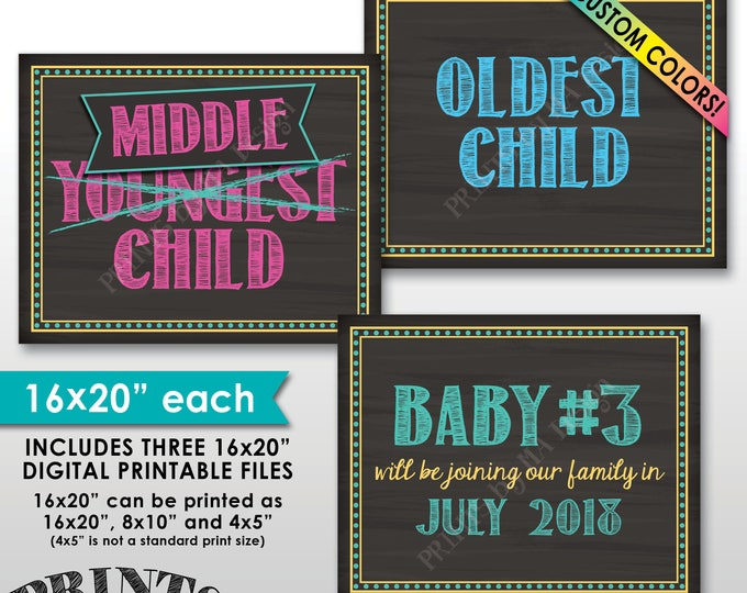 "3rd Baby Oldest Middle Youngest Pregnancy Announcement We're Expecting Third child, Pregnant, 8x10/16x20"" Chalkboard Style PRINTABLE Signs"