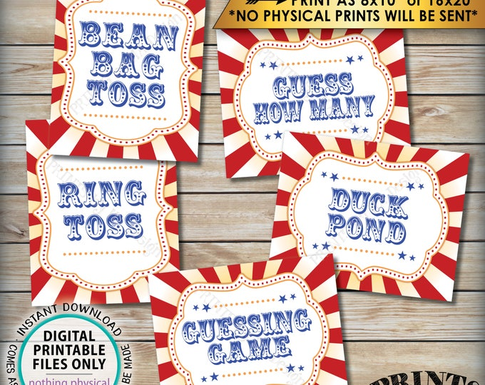 "Carnival Games Signs, Carnival Theme Party, Bean Bag Toss, Ring Toss, Duck Pond, Circus Theme Party, PRINTABLE 8x10/16x20"" Instant Downloads"