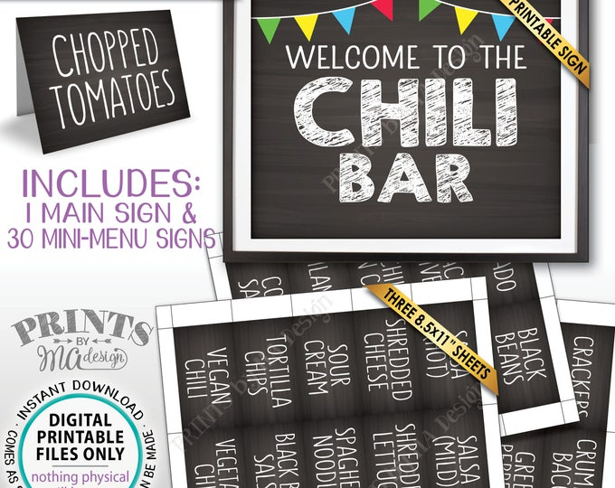Chili Bar Sign and Labels, Chili Buffet, Build Your Own Bowl of Chili Station, Chalkboard Style PRINTABLE Instant Download Sign & Labels
