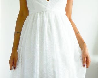 Handmade plunge neck v front dress, white lace dress,ivory summer dress, chantilly lace dress, v neck dress,summer dress, skater dress
