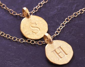 2 Initial Necklaces Gold Fill/Vermeil Letter Necklaces-Matte Gold Initials Personalized Stamped-Couples,Friends,Wedding Party,His Hers Gift