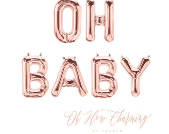 Oh Baby Rose Gold Letter Balloons Rose Gold Oh Baby Banner Rose Gold Balloons Baby Shower Balloons Pregnancy Announcement Gender Reveal