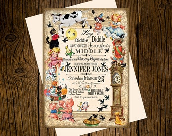 Hey Diddle Diddle Baby Shower Invitations Personalized Custom Printed Set of 12 Party Invites Vintage Ecru Mother Goose Nursery Rhyme