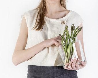 Linen apron, Washed linen apron, Linen waist apron, Linen half apron, Soft linen aprons