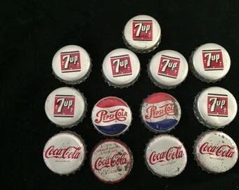 Vintage Soda Pop Bottle Caps Used Cork 7up Pepsi Cola Coca Cola 1950's