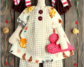 Primitive Raggedy Doll Emily fabric soft doll rag doll cloth doll handmade doll
