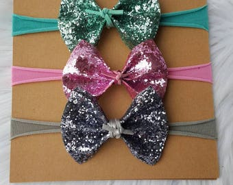 Sparkle Flutter Bow with Vegan Suede Tie ~ Matching Necklace Available ~ Baby Headbands ~ Girls Clips ~ Toddler Accessory ~ M2M ~ Glitter ~