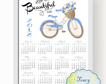 SALE! Printable Wall Calendar, Instant Download 2018 Wall Calendar, Blue Bicycle Wall Calendar 2018, Life is a beautiful ride Calendar 0506