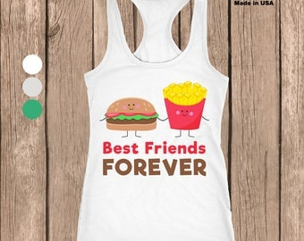 Burger and Fries Best Friends Racerback Tank Top - Made In USA - Available in Many Colors - Sizes small through 2XL