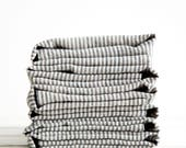 Striped Linen Dinner Napkins set of 6 - Ready to ship