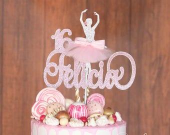 Dancer Cake Topper, ANY NAME AGE, Ballerina Cake Topper, Ballerina Birthday Party Decorations, Dancer Decorations, Sixteen Birthday Party
