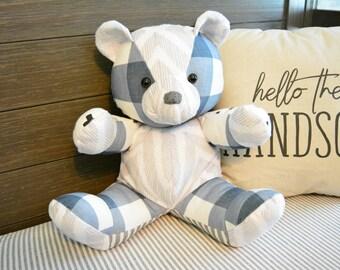Baby Bear Patchwork Teddy Bear - Custom, Memory Bear, Stuffed Bear, Matching Bear, Baby Girl or Boy, Nursery Decor, Keepsake Bear