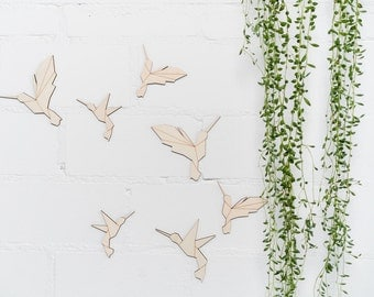 Wall decals from wood - geometric flock of hummingbirds