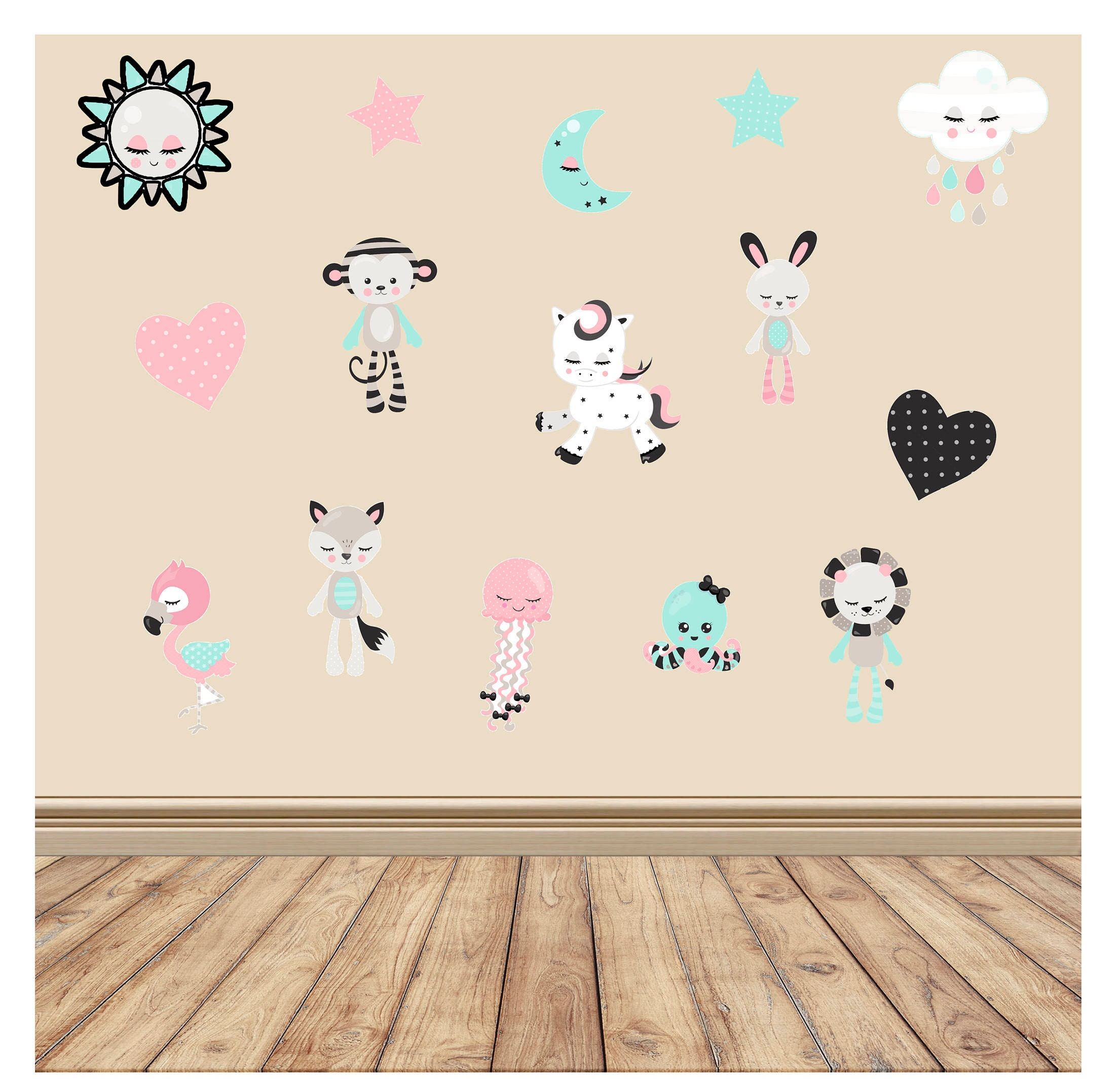 Nursery animal decals nursery wall decal baby room decal nursery animal decals nursery wall decal baby room decal playroom wall decor amipublicfo Images