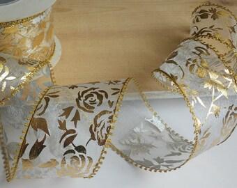 Organza ribbon Luxury ribbon Gift wrapping Silver white Gold Ribbon trim Wedding decorations