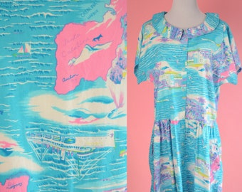 Vintage 1990s Day Dress // Catalina Island, Turquoise, Pink, Purple, 90s OP, Party Dress, Women Size Large