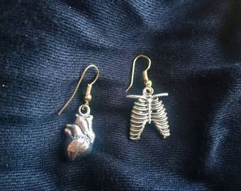 Heart and Ribcage Earrings