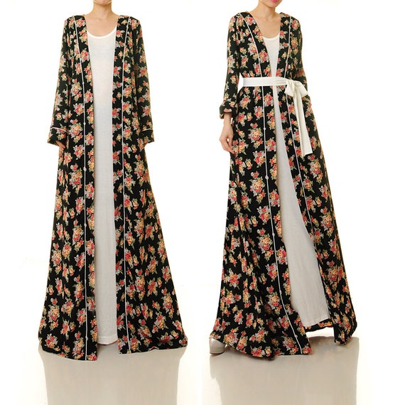 Floral Duster Jacket Floral Kimono Robe Long Sleeve Duster