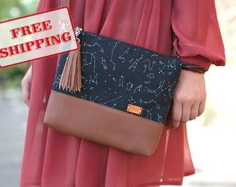 Zodiac Gift for her Black Bag Crossbody Bags Stars Handbags Christmas Gifts Mothers gift Cross body bag - A1