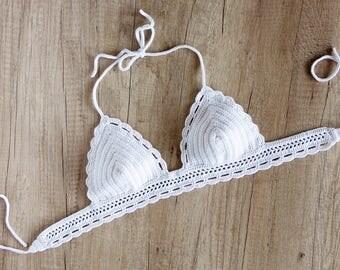 White Crochet Bikini Top - Crochet Halter Bikini Top - Crochet Bra Top - Crochet Bralette - Crochet Swimsuit - Crochet Triangle Bikini Top