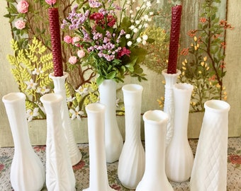 10 Milk Glass Vases Wedding Centerpiece Vases for Wedding Vases Vintage Milk Glass Bud Vase White Vases Bulk Vases Bridal Shower Centerpiece