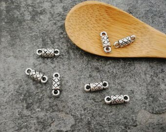 Separator beads, connectors connectors tube ethnic boho, silver, 9 x 3 mm