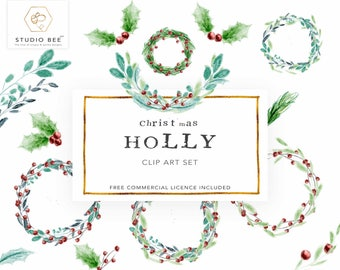 Holly Clipart, Christmas Clip Art, Floral Clip Art, Wreath Clipart, Christmas Decor Clipart, Graphics, Commercial Clipart,