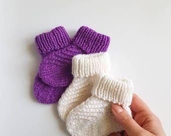 Knit baby socks, handknit socks for boy girl, knitted kids socks, infant socks, baby booties, baby shower gift