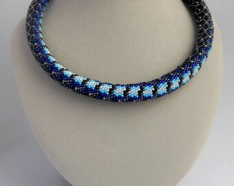 Beaded necklace for women Handmade bead necklace Bead crochet necklace Bright jewelry gift for her Beaded jewelry Blue feminine necklace