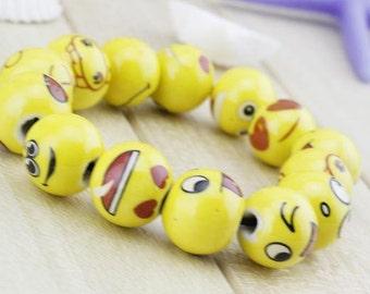 Emoji ceramic bracelets, emoji jewelry, emojis, emoji party gifts, emoji bracelets, emoji gifts, emoji beads, emoji charms, happy faces, red