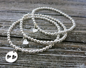 Mother and Two Daughter jewelry,Stretch bracelets,Heart cutout charm bracelets,Mother and Daughter Stretch bracelet,Gift for Mom