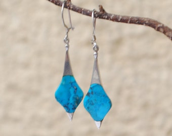 Dangling earrings sterling silver and turquoise
