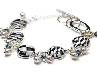 Black and White Checkerboard Bracelet with Pearls and Crystals