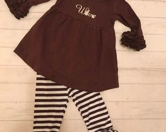 CLEARANCE 75% off  !Toddler girls Icing ruffled pants and top in brown mini stripe, girls ruffled pants and top brown