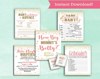 Baby Shower Game Pack Bundle - 5 Games - How Big Mommys Belly - Baby Advice - Late Night Diapers - Baby Words Scramble - Name That Song Baby