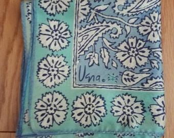 Darling Vera Neumann Floral Paisley Blue Square Vintage Scarf