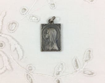 Antique Sterling Silver Our Lady of Lourdes Medal. French Art Deco Style Silver Lourdes Medal. French Catholic Saint Religious Pendant