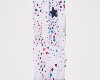 Patriotic - Red, White, Blue, Silver - Large, Medium, Small Stars on White Fabric - Handmade Double Fold Bias Tape