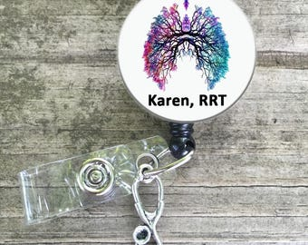 Lungs, Breathe, respiratory, respiratory therapy, respiratory therapist, badge reel button, breathe badge reel, RRT CRT lanyard
