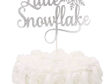 Little Snowflake Cake Topper - Winter Christmas Baby Shower - Snowflake Birthday Party - 1st Birthday Cake Topper - Choose Your Color