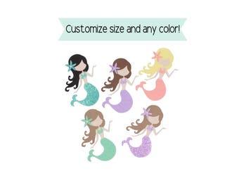 Mermaid Die Cuts, Mermaid Cutouts, Mermaid cardstock, Under the sea die cuts, Mermaid Decorations, Mermaid Party Decor