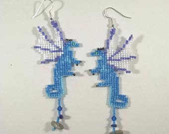 Beaded Dragon Earrings, Blue, Light Blue, Purple Fairy Dragon Earrings with Crystal, Lapis Lazuli, and Labradorite Treasure, Fantasy Jewelry