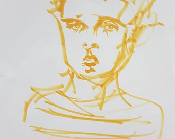 Original drawing: Portrait of a young boy