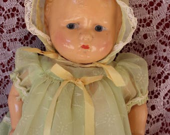 "13"" Baby Grumpy Antique Composition Walk-talk-sleep doll By Effanbee   in a beautiful Flocked Chiffon doll dress and Bonnet  Rare & Adorable"
