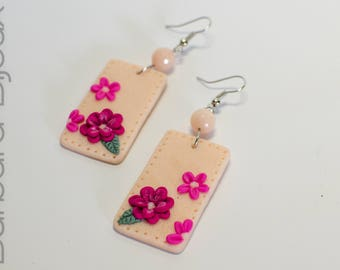 Women's earrings elegant, rectangular, pink with flowers, jewelry polymer clay (fimo).