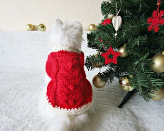 Christmas dog sweater Christmas cat sweater Red christmas jumper Red white sweater Small dog sweater Santa cat god Christmas cat dog outfit