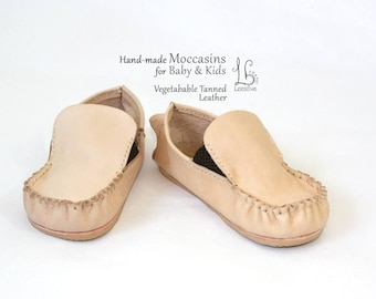 Leather Moccasins for Baby and Kids Natural cow leather - Flexible out sole - Comfortable fit - Non Toxic material - Handmade Shoes Children