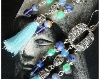 "Pierced ear ethnic ""Cancun"", Native American, silver charm, gemstone tassel, skull, Czech glass"